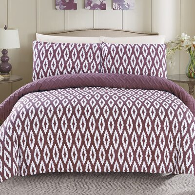Cherree 7 Piece Reversible Bed in a Bag Set Color: Purple, Size: Queen