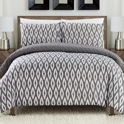 Cherree 7 Piece Reversible Bed in a Bag Set Color: Gray, Size: King