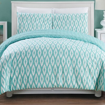 Cherree 7 Piece Reversible Bed in a Bag Set Color: Aqua, Size: Queen