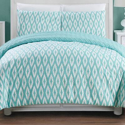 Cherree 3 Piece Reversible Comforter Set Color: Aqua, Size: Queen