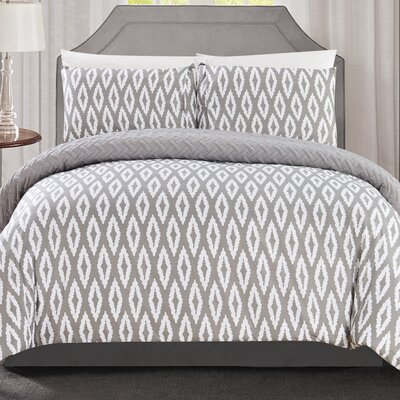Cherree 3 Piece Reversible Comforter Set Color: Silver, Size: Queen