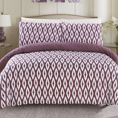 Cherree 3 Piece Reversible Comforter Set Color: Purple, Size: Queen