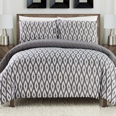 Cherree 3 Piece Reversible Comforter Set Color: Gray, Size: Queen