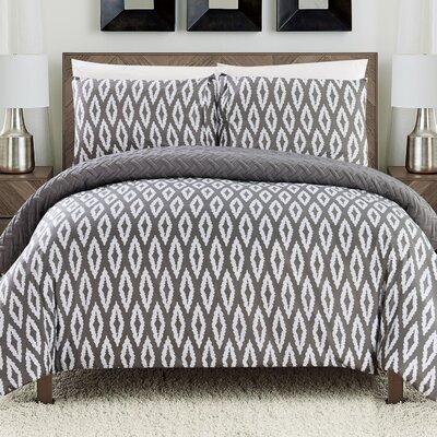 Cherree 3 Piece Reversible Comforter Set Color: Gray, Size: King