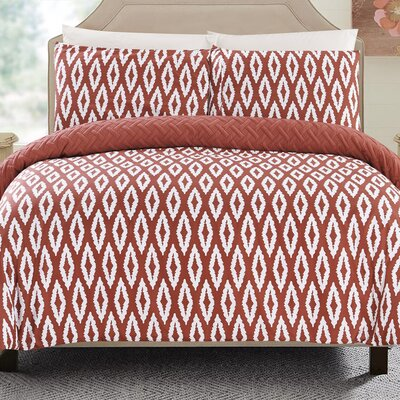 Cherree 3 Piece Reversible Comforter Set Color: Brick, Size: Queen