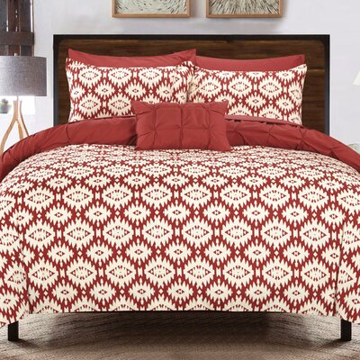 Cherryl 3 Piece Reversible Duvet Set Color: Brick
