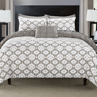 Cherryl 3 Piece Reversible Duvet Set Color: Gray