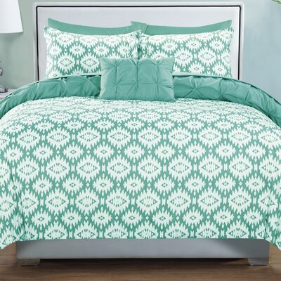 Cherryl 4 Piece Reversible Duvet Set Color: Aqua, Size: King