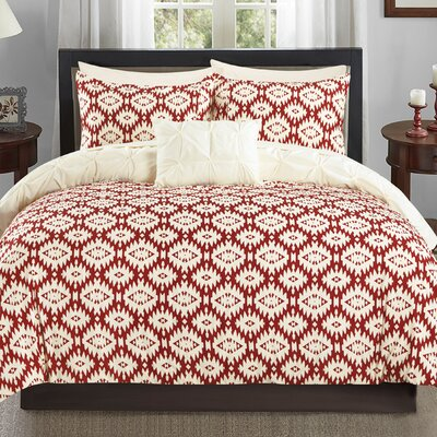 Cherryl 4 Piece Reversible Duvet Set Color: Beige, Size: Queen