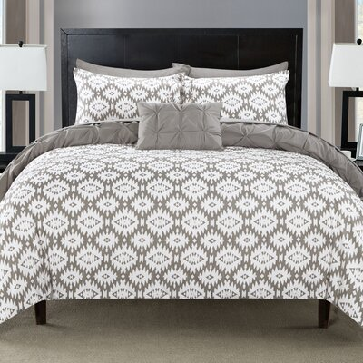 Cherryl 4 Piece Reversible Duvet Set Color: Gray, Size: King