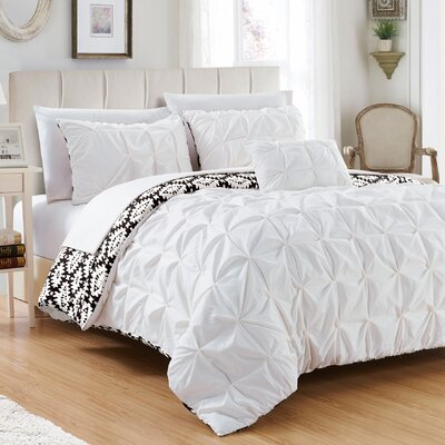 Cherryl 4 Piece Reversible Duvet Set Color: White, Size: Queen