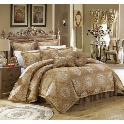 Aubrey 9 Piece Comforter Set Size: King, Color: Gold
