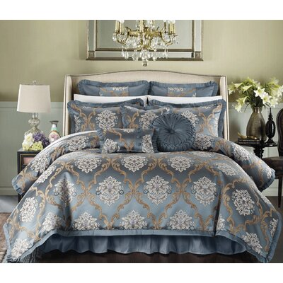 Aubrey 9 Piece Comforter Set Size: King, Color: Blue