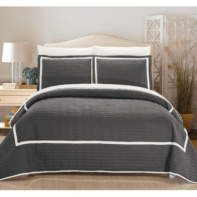 Birmingham Quilt Set Size: King, Color: Gray