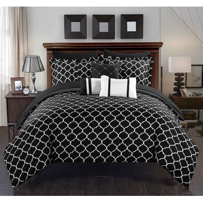 Dorothy 10 Piece Bed-In-A-Bag Set Size: Queen, Color: Black
