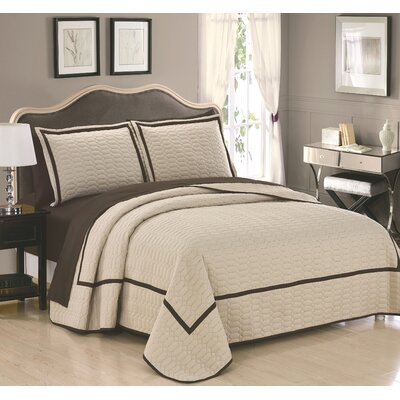 Birmingham 7 Piece Quilt Set Size: King, Color: Beige