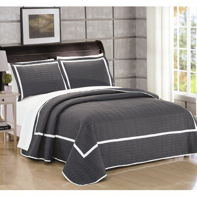 Birmingham 7 Piece Quilt Set Size: Queen, Color: Gray