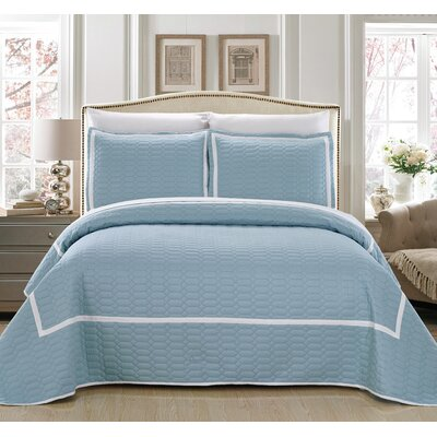 Birmingham 7 Piece Quilt Set Size: King, Color: Blue