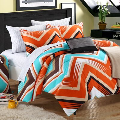 Ziggy Zag Reversible Comforter Set Color: Orange, Size: Twin