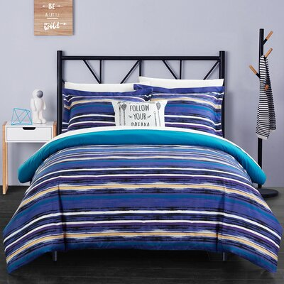 Helene 3 Piece Twin Reversible Duvet Set Color: Blue