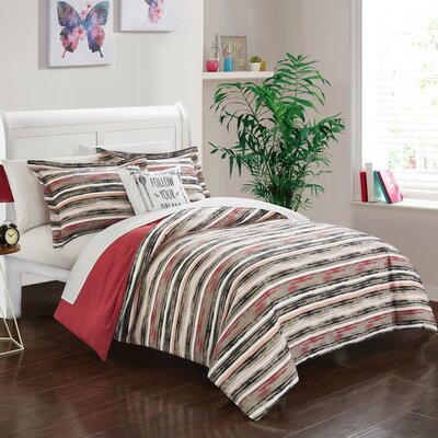 Helene 6 Piece Reversible Duvet Cover Set Size: Twin XL, Color: Brick