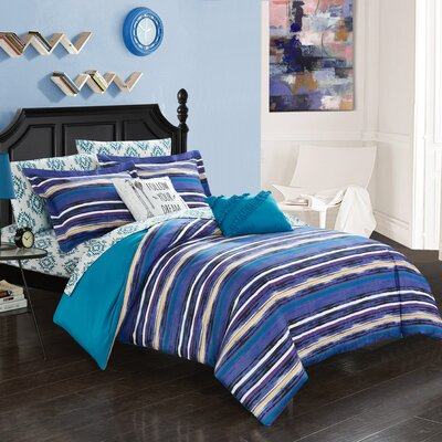 Hester 7 Piece Twin Reversible Comforter Set Color: Blue