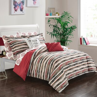 Hester 7 Piece Twin Reversible Comforter Set Color: Brick