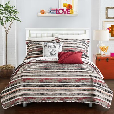 Heriberto Reversible Quilt Set Size: Full, Color: Brick