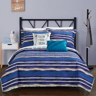 Heriberto Contemporary Reversible Quilt Set Size: Twin, Color: Blue