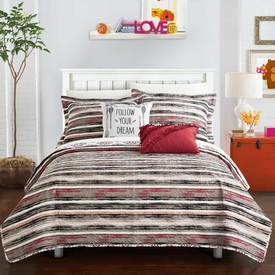 Heriberto Contemporary Reversible Quilt Set Size: Twin XL, Color: Brick