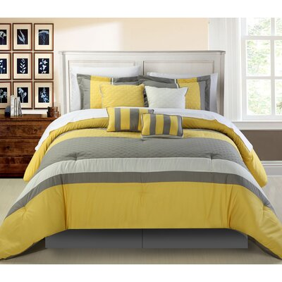 Diamante 8 Piece Comforter Set Size: King, Color: Yellow