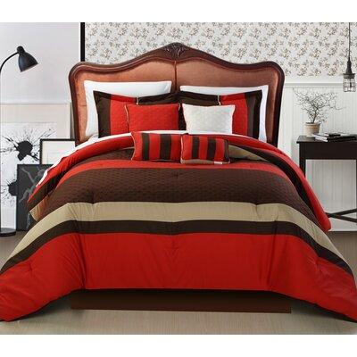 Diamante 8 Piece Comforter Set Size: Queen, Color: Brick