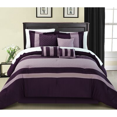 Diamante 8 Piece Comforter Set Size: Queen, Color: Plum