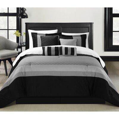 Diamante 8 Piece Comforter Set Size: King, Color: Black
