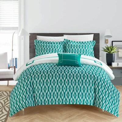 Kendall 8 Piece Reversible Duvet Set Size: King, Color: Aqua/White