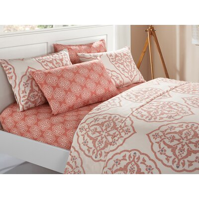 Audington 6 Piece Microfiber Sheet Set Color: Brick, Size: Queen