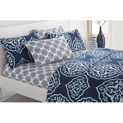 Audington 6 Piece Microfiber Sheet Set Size: Queen, Color: Navy