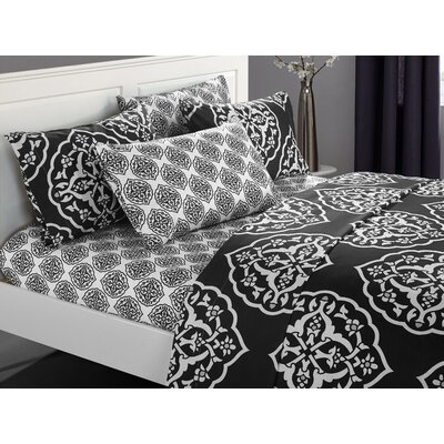 Audington 6 Piece Microfiber Sheet Set Color: Black, Size: King
