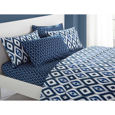 Asceanna 6 Piece Microfiber Sheet Set Size: King, Color: Navy