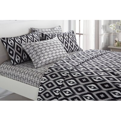Asceanna 6 Piece Microfiber Sheet Set Color: Black, Size: Queen