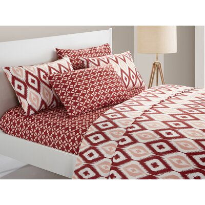 Asceanna 6 Piece Microfiber Sheet Set Color: Brick, Size: Queen