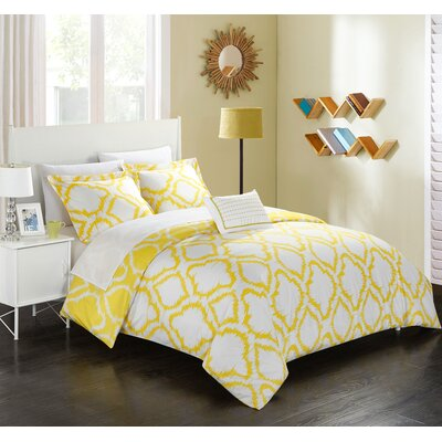 Borgata 4 Piece Reversible Duvet Set Color: Yellow, Size: King