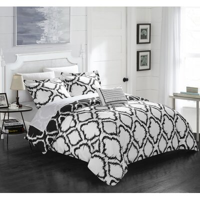 Borgata 4 Piece Reversible Duvet Set Color: Black, Size: Queen