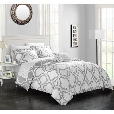 Borgata 6 Piece Reversible Duvet Set Color: Gray, Size: Twin