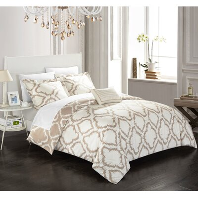 Borgata 4 Piece Reversible Duvet Set Color: Beige, Size: King