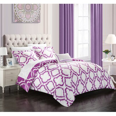 Borgata 4 Piece Reversible Duvet Set Color: Lavender, Size: King