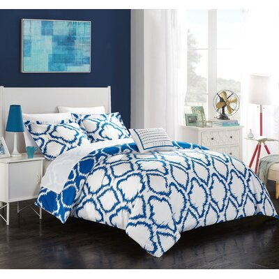 Borgata 4 Piece Reversible Duvet Set Color: Blue, Size: King