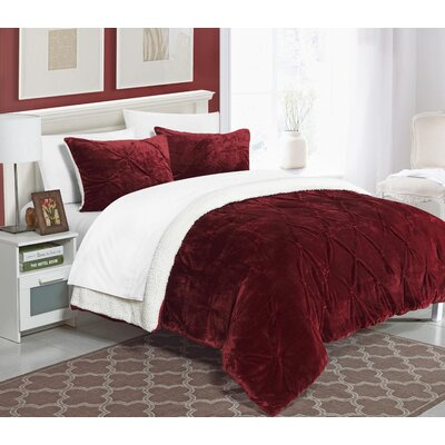 Fontane 7 Piece Bed in a Bag Set Color: Burgundy, Size: King