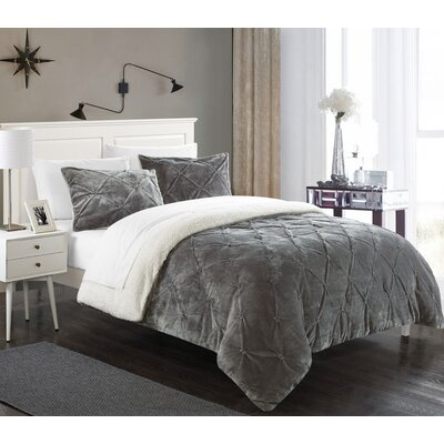 Fontane 7 Piece Bed in a Bag Set Color: Gray, Size: King