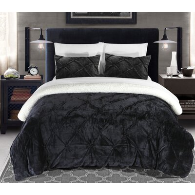 Fontane 7 Piece Bed in a Bag Set Color: Black, Size: Queen